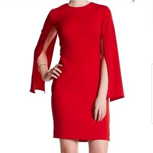 Issue New York NWT Red Cape Sleeve Evening Dress